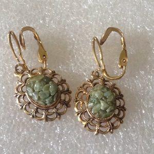 Vintage jade clip on earrings